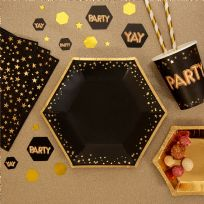 Glitz & Glamour Black & Gold Medium Stars Plates (8)